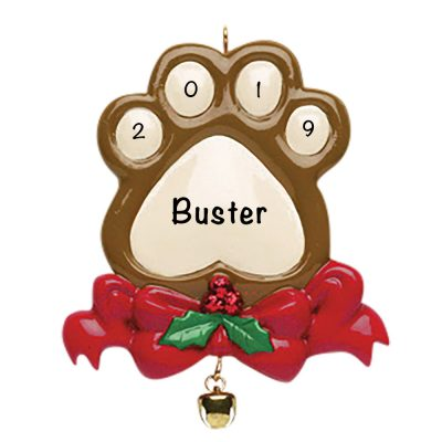 Pet Paw Print Personalized Christmas Ornament