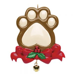 Pet Paw Print Personalized Christmas Ornament - Blank