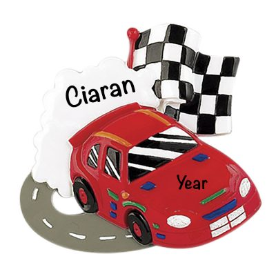 Race Car Track Personalized Christmas Ornament