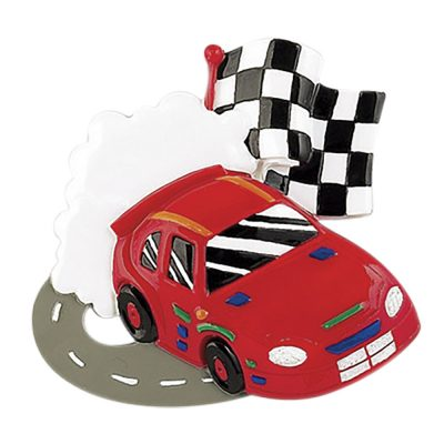 Race Car Track Personalized Christmas Ornament - Blank