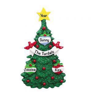 Green Glitter Tree Family of 3 Personalized Christmas Ornament