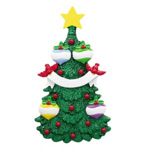 Green Glitter Tree Family of 4 Personalized Christmas Ornament - Blank