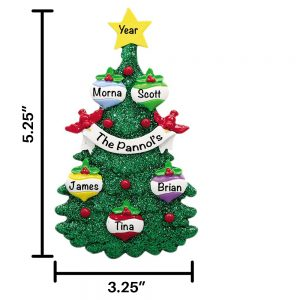 Glitter Tree Family of 5 Personalized Christmas Ornament