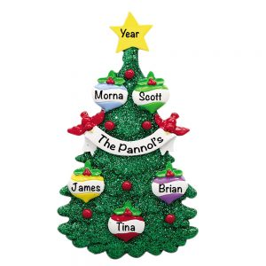 Green Glitter Tree Family of 5 Personalized Christmas Ornament