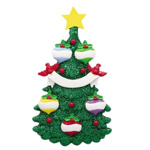 Green Glitter Tree Family of 5 Personalized Christmas Ornament - Blank
