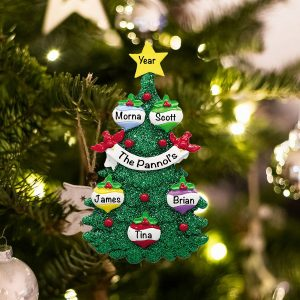 Personalized Green Glitter Tree Family of 5 Christmas Ornament