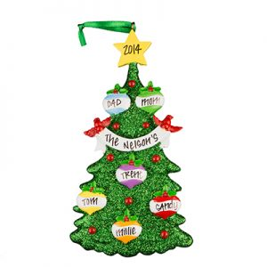 Green Glitter Tree Family of 6