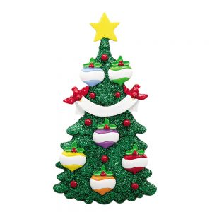 Green Glitter Tree Family of 6 Personalized Christmas Ornament - Blank