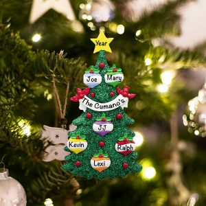 Personalized Green Glitter Tree Family of 6 Christmas Ornament