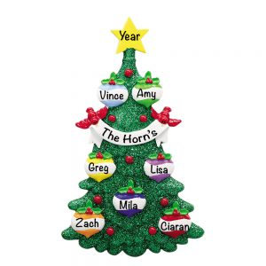 Green Glitter Tree Family of 7 Personalized Christmas Ornament