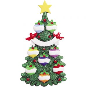 Green Glitter Tree Family of 8 Personalized Christmas Ornament - Blank