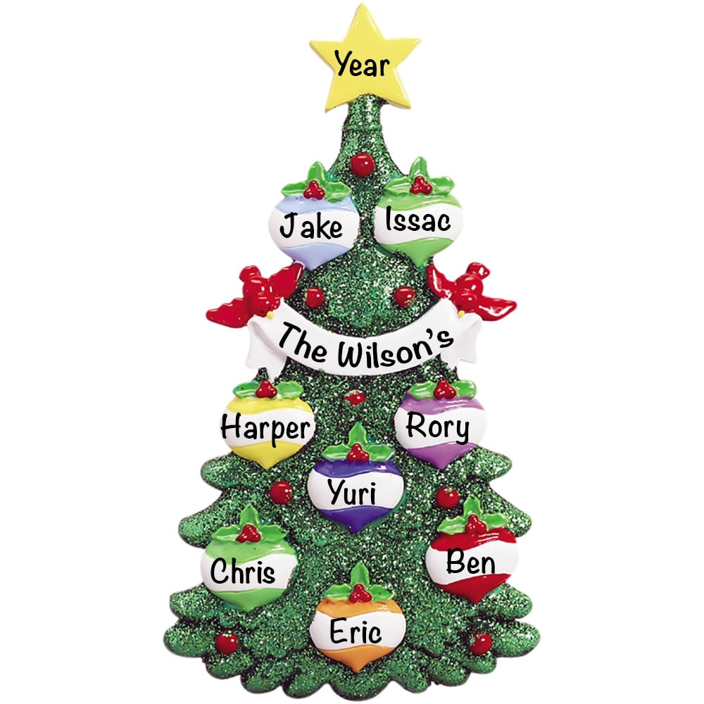 Green Glitter Tree Family of 8 Personalized Ornament