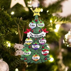 Personalized Green Glitter Tree Family of 8 Christmas Ornament
