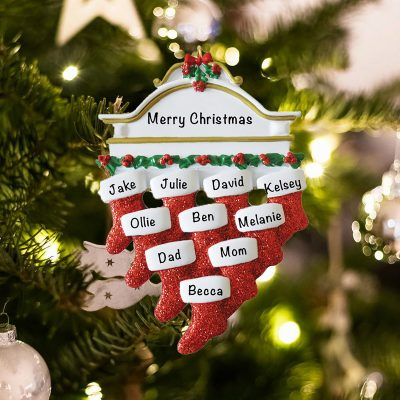 Personalized Red Stockings Mantle Family of 10 Christmas Ornament