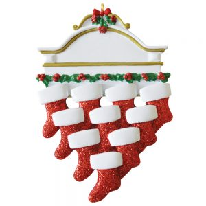 Red Stocking Mantle Family of 10 Personalized Christmas Ornament - Blank