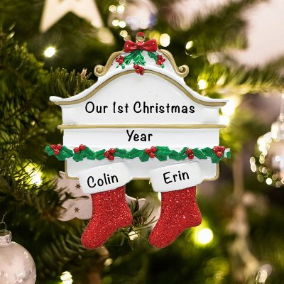Personalized Red Stockings Mantle Couple Christmas Ornament