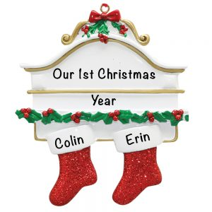 Red Stocking Couple Personalized Christmas Ornament