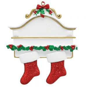 Red Stocking Mantle Couple Personalized Christmas Ornament