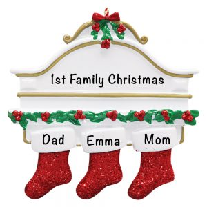 3-3 Red Stocking Mantle Family of 3 Personalized Christmas Ornament