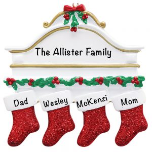 Red Stocking Mantle Family of 4 Personalized Christmas Ornament