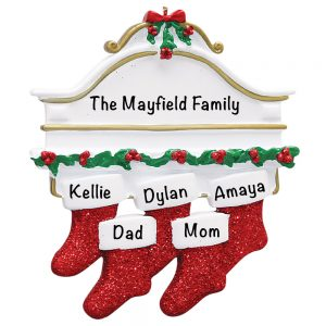 Red Stocking Mantle Family of 5 Personalized Christmas Ornament
