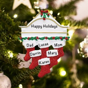 Personalized Red Stockings Mantle Family of 6 Christmas Ornament