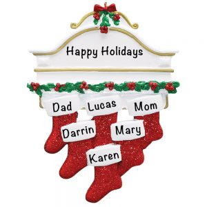 Red Stocking Mantle Family of 6 Personalized Christmas Ornament
