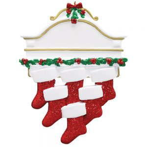 Red Stocking Mantle Family of 6 Personalized Christmas Ornament - Blank