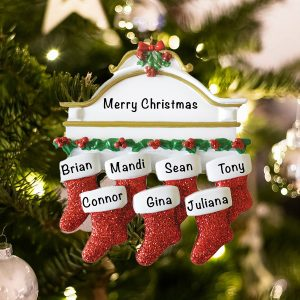 Personalized Red Stockings Mantle Family of 7 Christmas Ornament