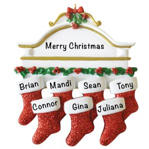 Red Stocking Mantle Family of 7 Personalized Christmas Ornament