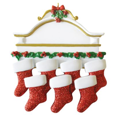 Red Stocking Mantle Family of 7 Personalized Christmas Ornament - Blank