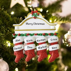 Personalized Red Stockings Mantle Family of 8 Christmas Ornament