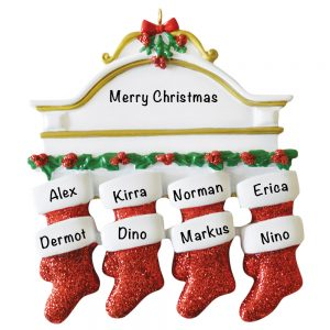 Red Stocking Mantle Family of 8 Personalized Christmas Ornament