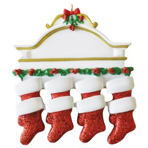 Red Stocking Mantle Family of 8 Personalized Christmas Ornament - Blank
