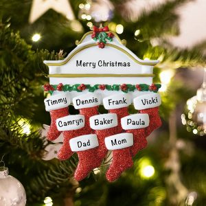 Personalized Red Stockings Mantle Family of 9 Christmas Ornament