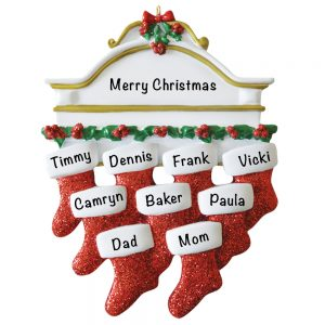 Red Stocking Mantle Family of 9 Personalized Christmas Ornament