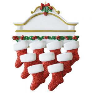 Red Stocking Mantle Family of 9 Personalized Christmas Ornament - Blank