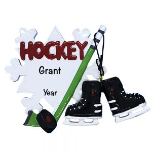 Hockey Stick and Skates Personalized Christmas Ornament
