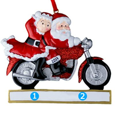 Santa Couple Motorcycle Personalized Ornament