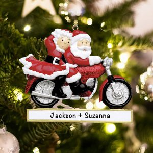 Personalized Santa Couple on Motorcycle Christmas Ornament