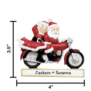 Santa Couple Motorcycle Personalized Christmas Ornament
