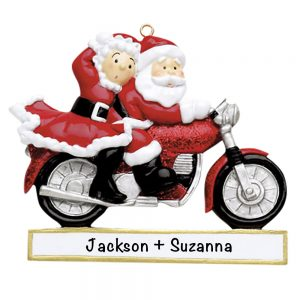 Santa Motorcycle Couple Personalized Christmas Ornament