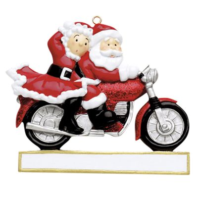 Santa Motorcycle Couple Personalized Christmas Ornament - Blank