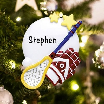 Personalized Lacrosse Equipment Christmas Ornament