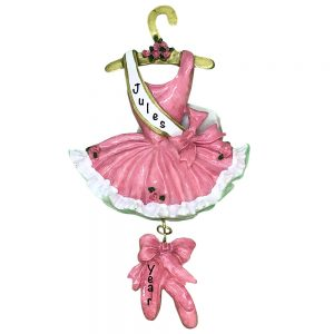 Ballerina Dress Pink Personalized Christmas Ornament