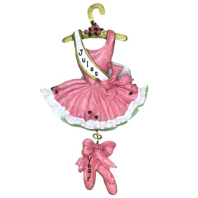Ballerina Dress Pink Personalized Christmas Ornament