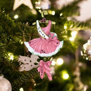 Personalized Ballerina Dress Pink Christmas Ornament