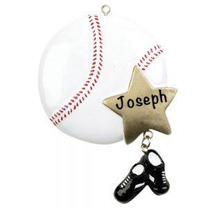Baseball Star Personalized Christmas Ornament