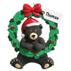 362 Black Bear Wreath Personalized Christmas Ornament