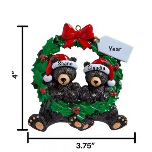 Bear Couple in Wreath Personalized Christmas Ornament